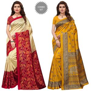 Beautiful Festive Wear Printed Art Silk Saree - Pack of 2