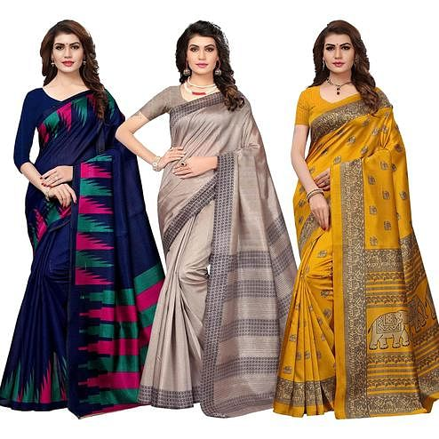 Adorable Festive Wear Printed Bhagalpuri Silk-Art Silk Saree - Pack of 3