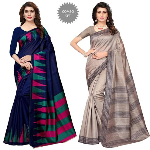 Appealing Festive Wear Printed Art Silk-Bhagalpuri Silk Saree - Pack of 2