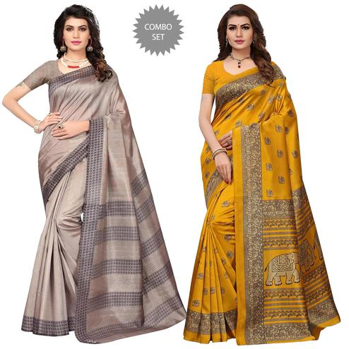 Pleasant Festive Wear Printed Bhagalpuri Silk-Art Silk Saree - Pack of 2