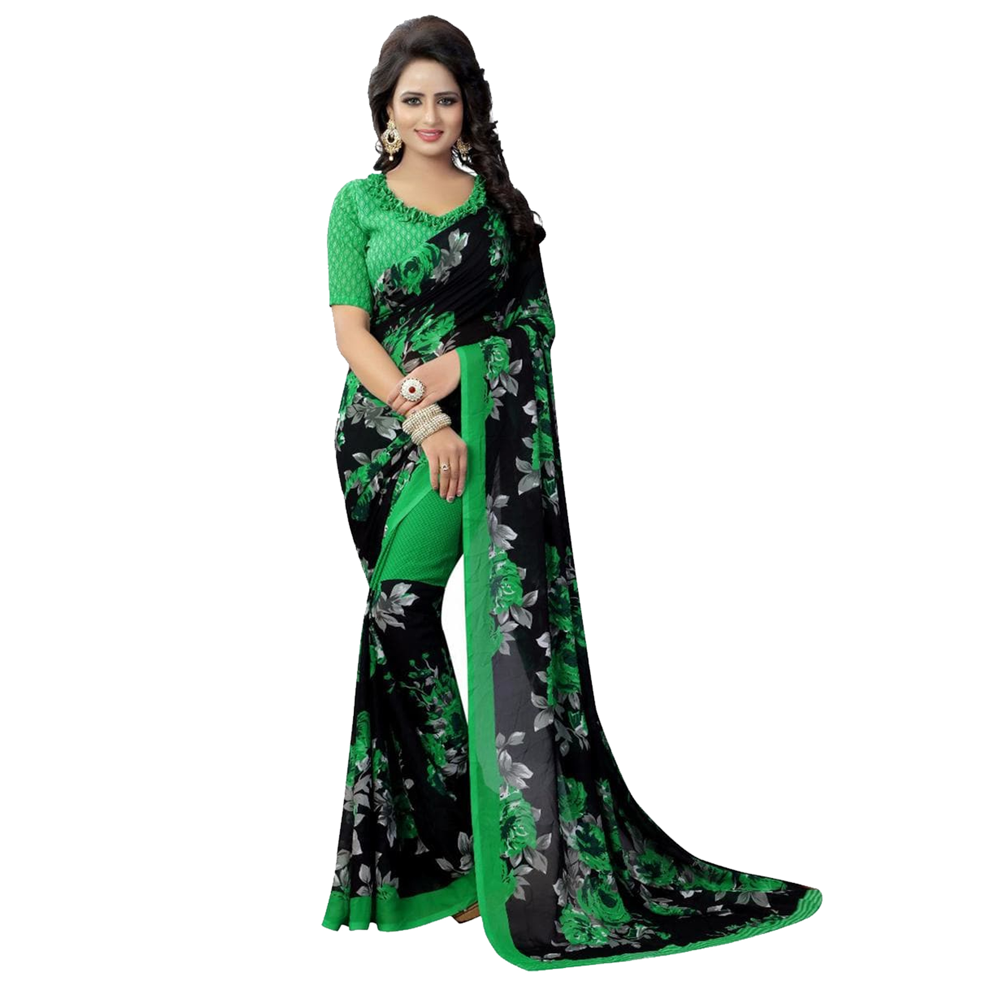 Adorable Casual Printed Georgette Saree - Pack of 2