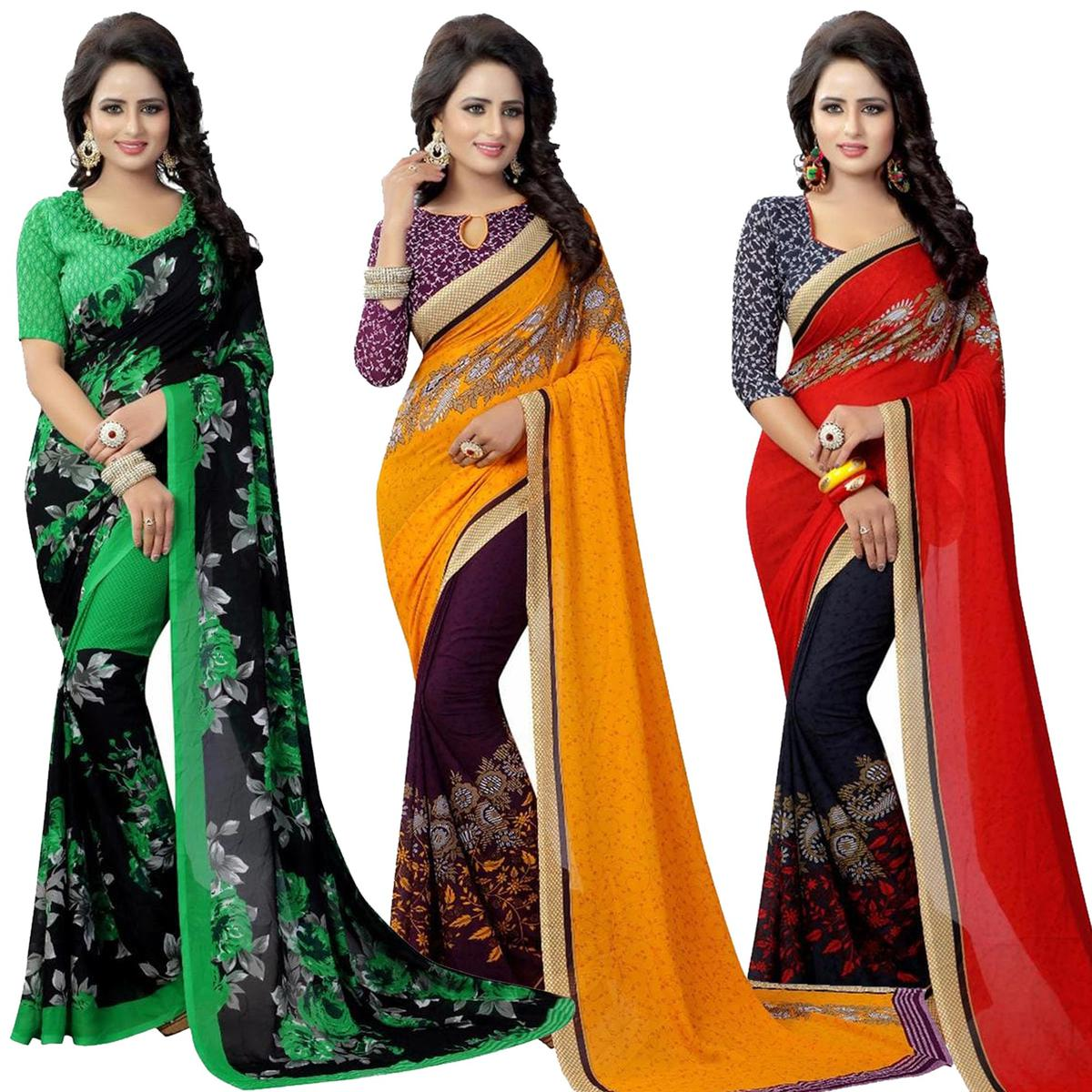 Beautiful Casual Printed Georgette Saree - Pack of 3