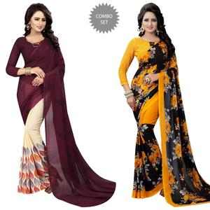 Desiring Casual Printed Georgette Saree - Pack of 2