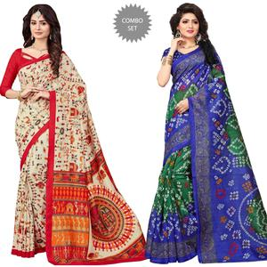 Classy Casual Printed Bhagalpuri Silk Saree - Pack of 2