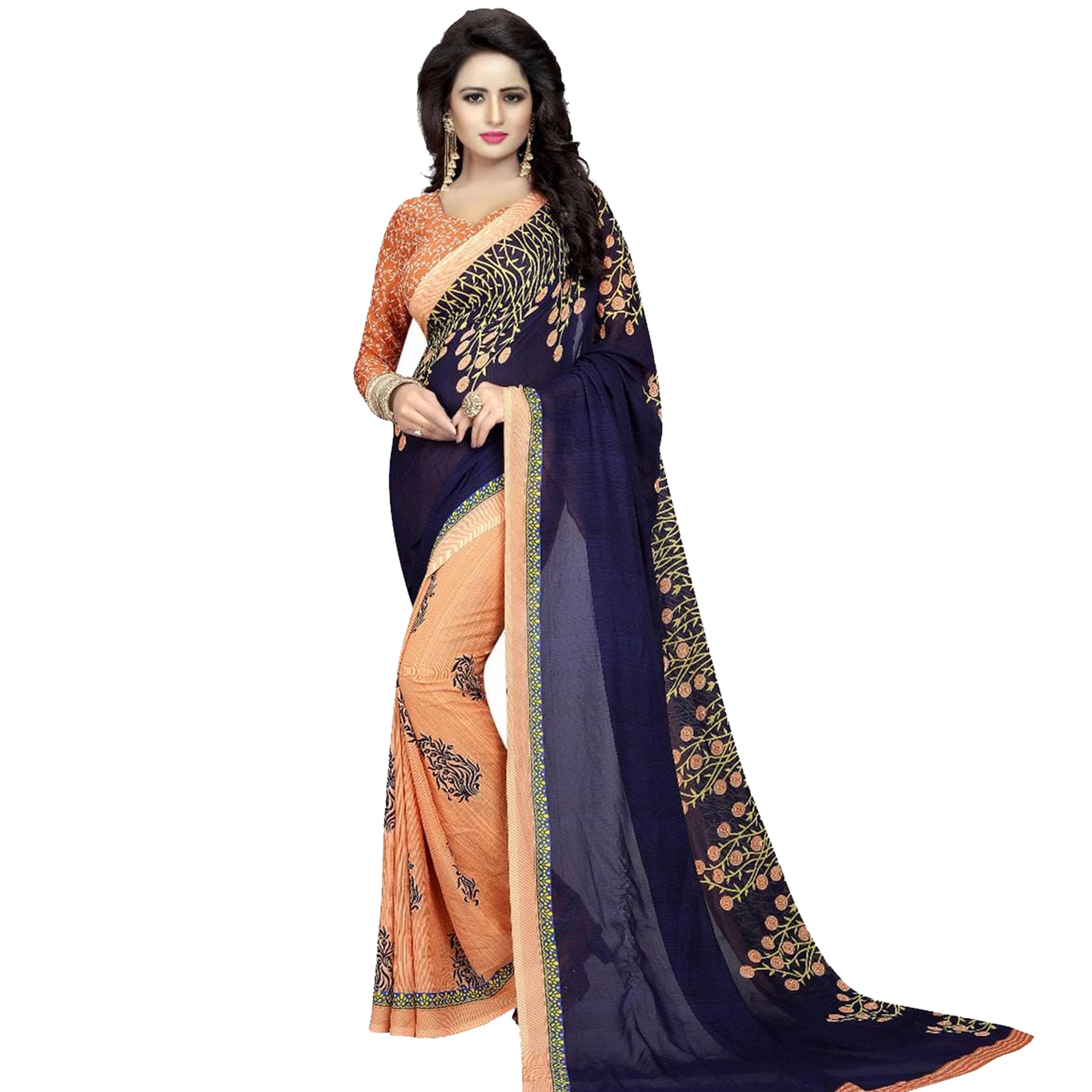 Lovely Casual Printed Georgette Saree - Pack of 2