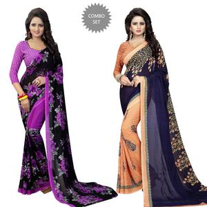 Impressive Casual Printed Georgette Saree - Pack of 2