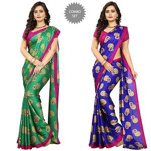 Appealing Casual Wear Printed Art Silk Saree - Pack of 2