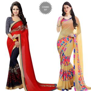 Preferable Casual Printed Georgette Saree - Pack of 2
