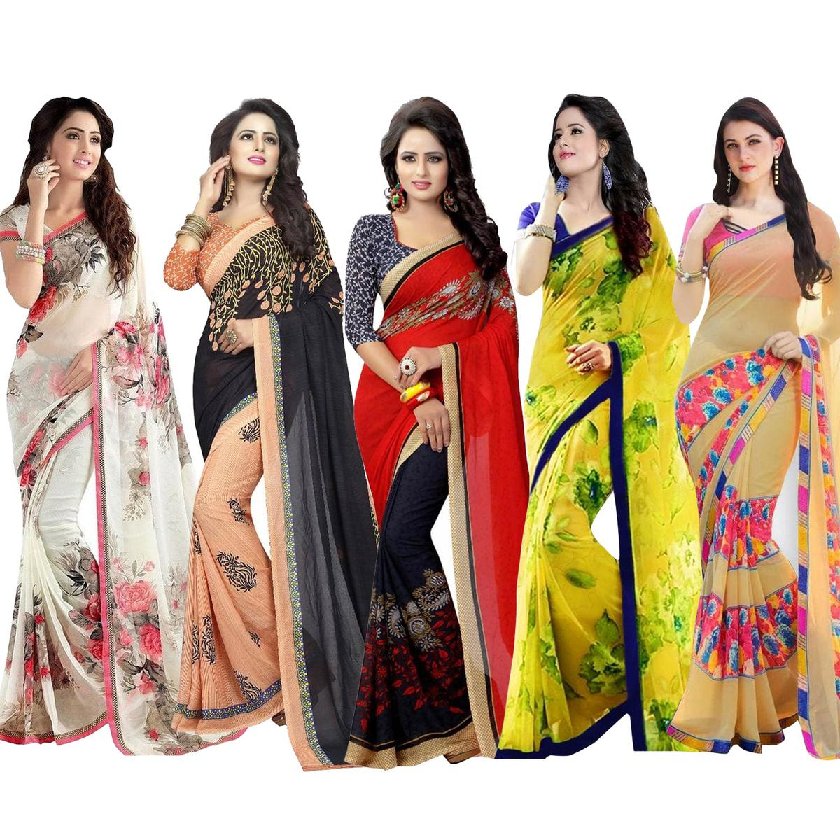 f3bd566d94 Buy Gorgeous Casual Printed Georgette Saree - Pack of 5 for womens online  India, Best Prices, Reviews - peachmode