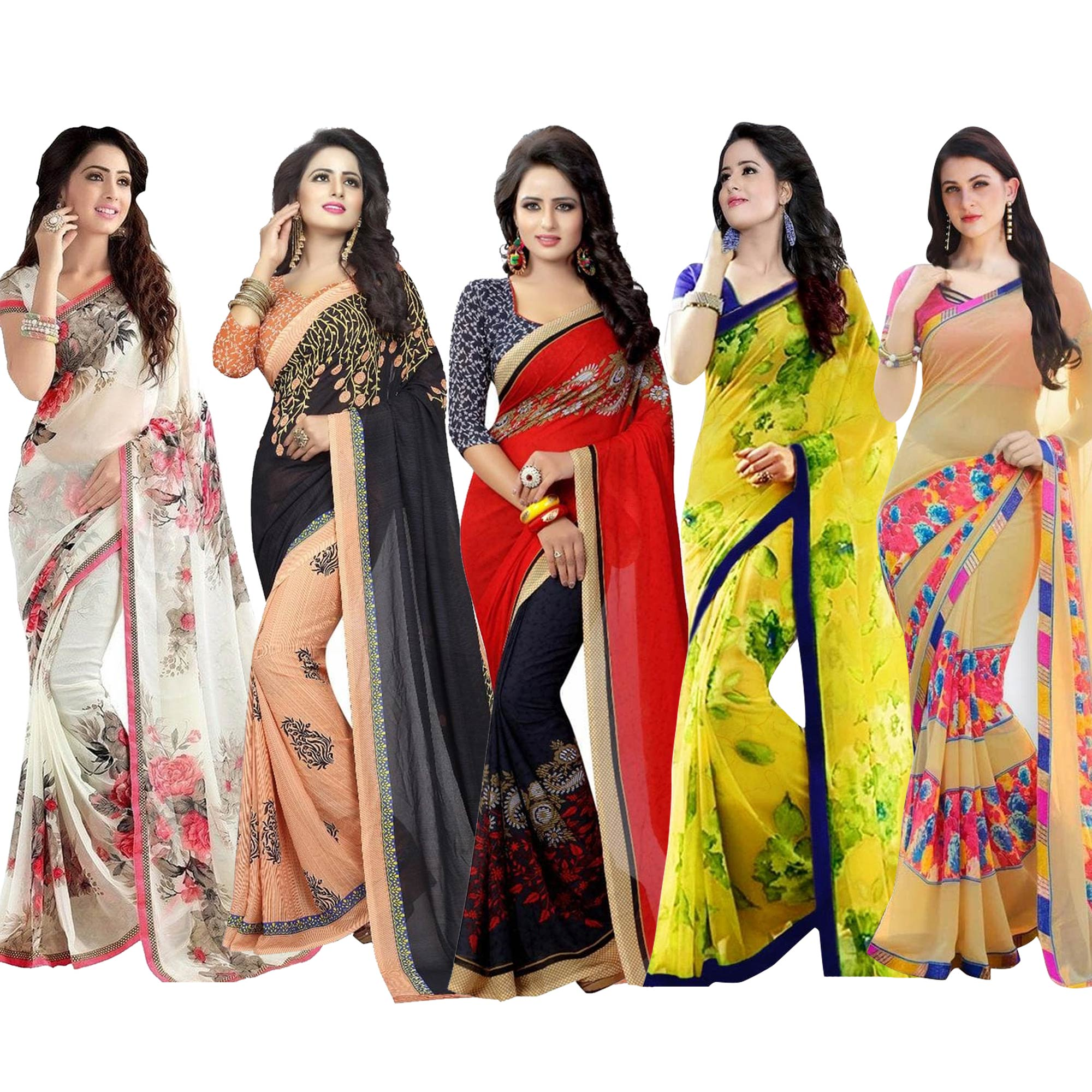 gorgeous-casual-printed-georgette-saree-pack-of-5