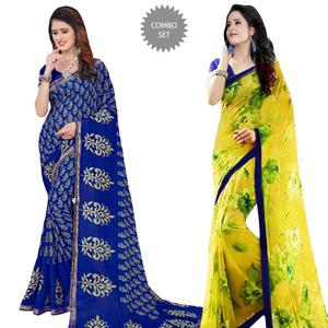 Beautiful Casual Printed Georgette Saree - Pack of 2
