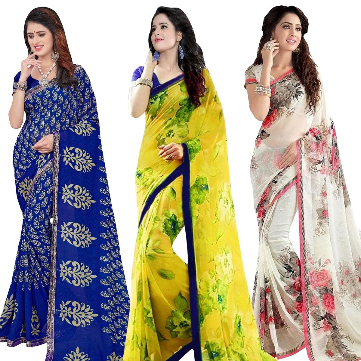 b5512e8949533 Buy Classy Casual Printed Georgette Saree - Pack of 3 for womens online  India
