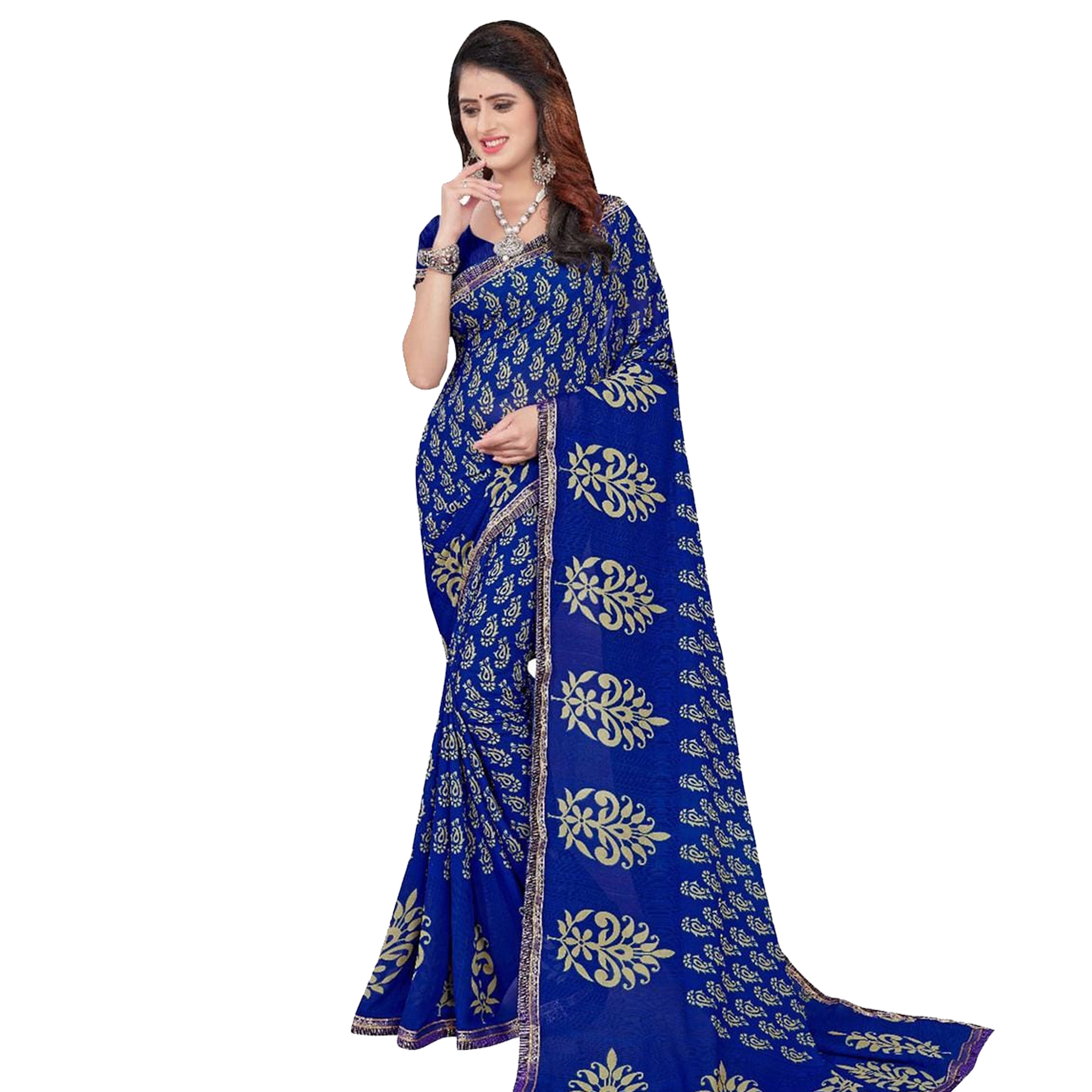 Classy Casual Printed Georgette Saree - Pack of 3
