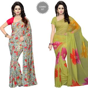 Pretty Casual Printed Georgette Saree - Pack of 2