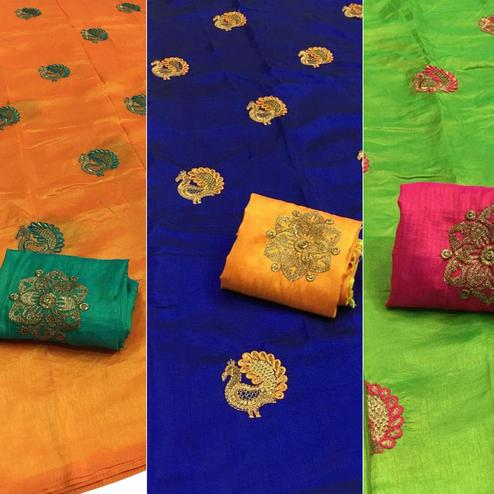 Lovely Festive Wear Embroidered Sana Silk Saree - Pack of 3