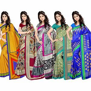 Eye-catching Casual Printed Silk Saree - Pack of 5