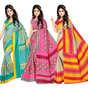 Majesty Casual Printed Silk Saree - Pack of 3