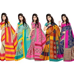 Glorious Casual Printed Silk Saree - Pack of 5