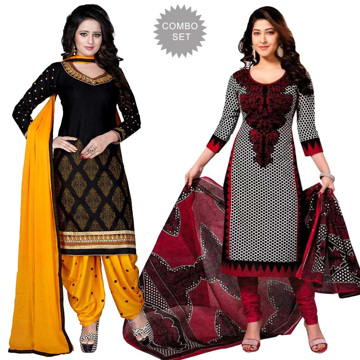 90eca2e92581b Buy Flaunt Black - White Colored Casual Wear Printed Dress Material ( Pack  Of 2 ) for womens online India