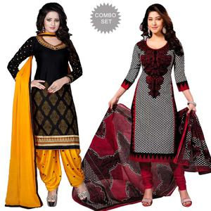 Flaunt Black - White Colored Casual Wear Printed Dress Material - Pack Of 2