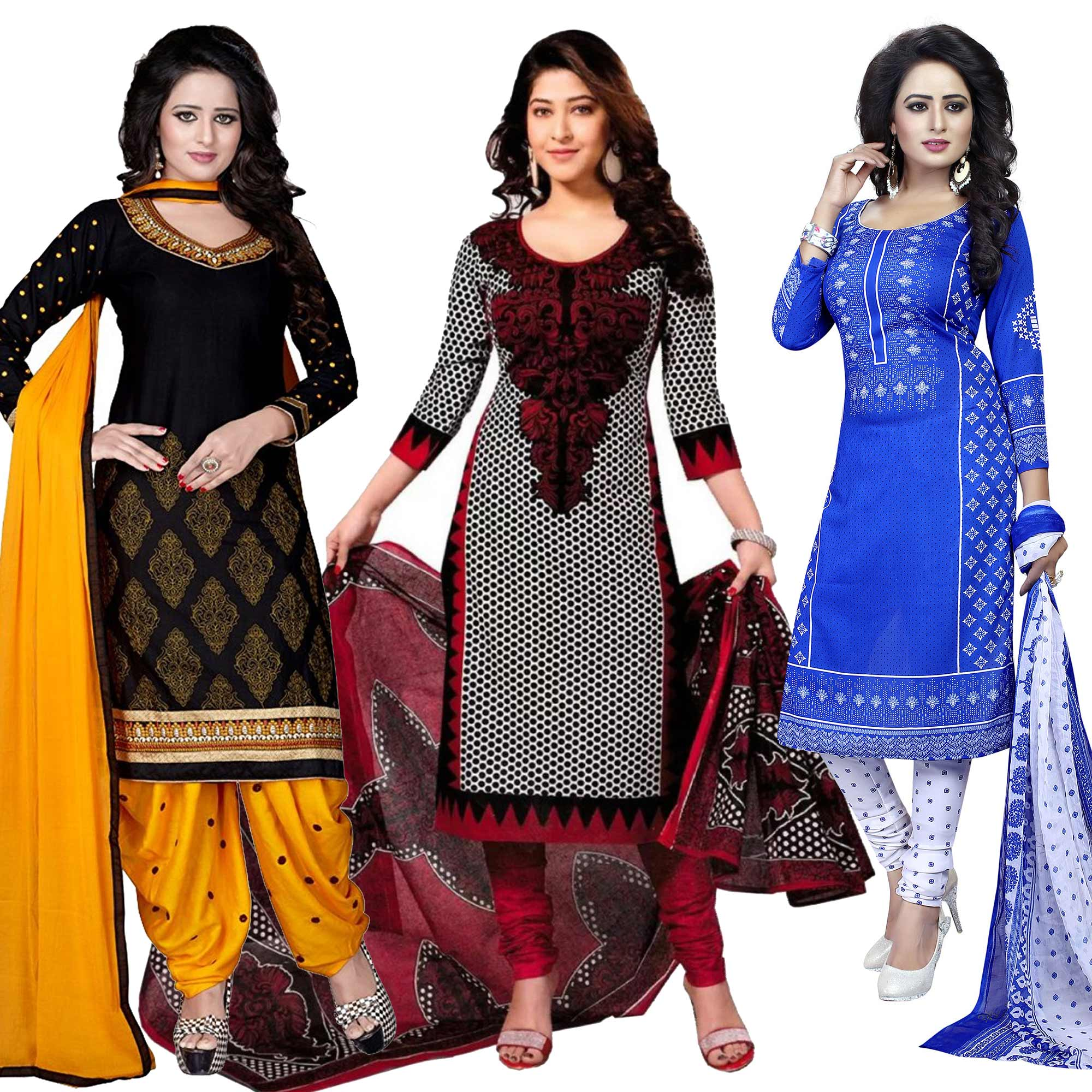 magnetic-black-white-blue-colored-casual-wear-printed-dress-material-pack-of-2