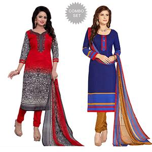 Red - Blue Printed Cotton Dress Material Combo