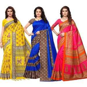 Demanding Casual Printed Silk Saree - Pack of 3