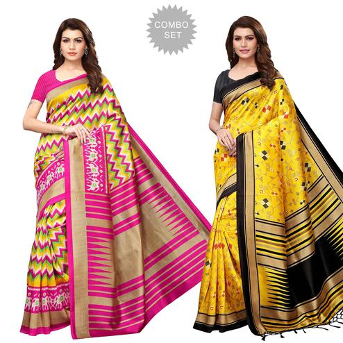Adorable Festive Wear Printed Art Silk-Mysore Silk Saree - Pack of 2