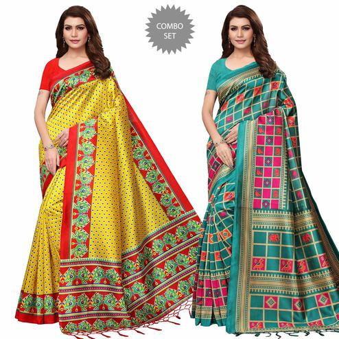 Beautiful Festive Wear Printed Mysore Silk Saree - Pack of 2