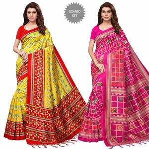 Blooming Festive Wear Printed Mysore Silk Saree - Pack of 2