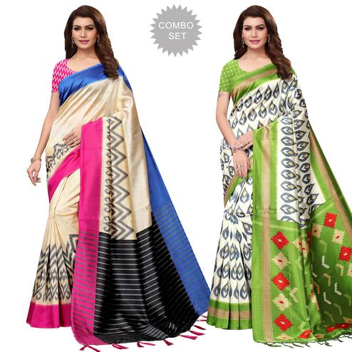 Classy Festive Wear Printed Mysore Silk Saree - Pack of 2