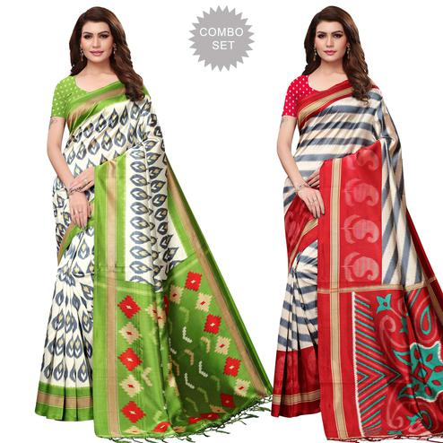 Eye-catching Festive Wear Printed Mysore Silk Saree - Pack of 2