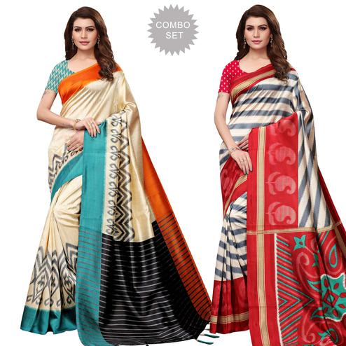 Gorgeous Festive Wear Printed Mysore Silk Saree - Pack of 2