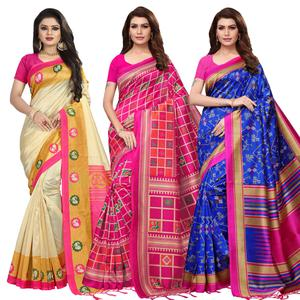 Glowing Festive Wear Printed Mysore Silk Saree - Pack of 3
