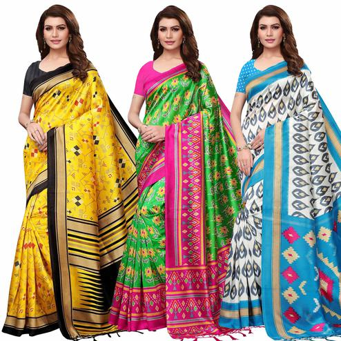 Exceptional Festive Wear Printed Mysore Silk Saree - Pack of 3