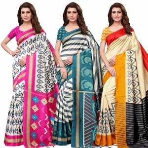 Gleaming Festive Wear Printed Mysore Silk Saree - Pack of 3