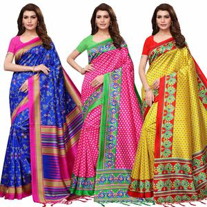 Mesmeric Festive Wear Printed Mysore Silk Saree - Pack of 3