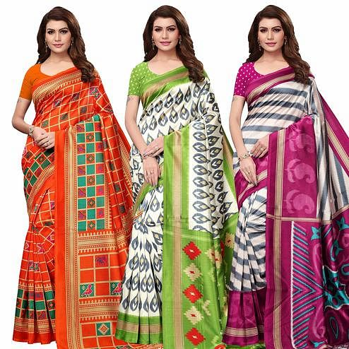 Unique Festive Wear Printed Mysore Silk Saree - Pack of 3