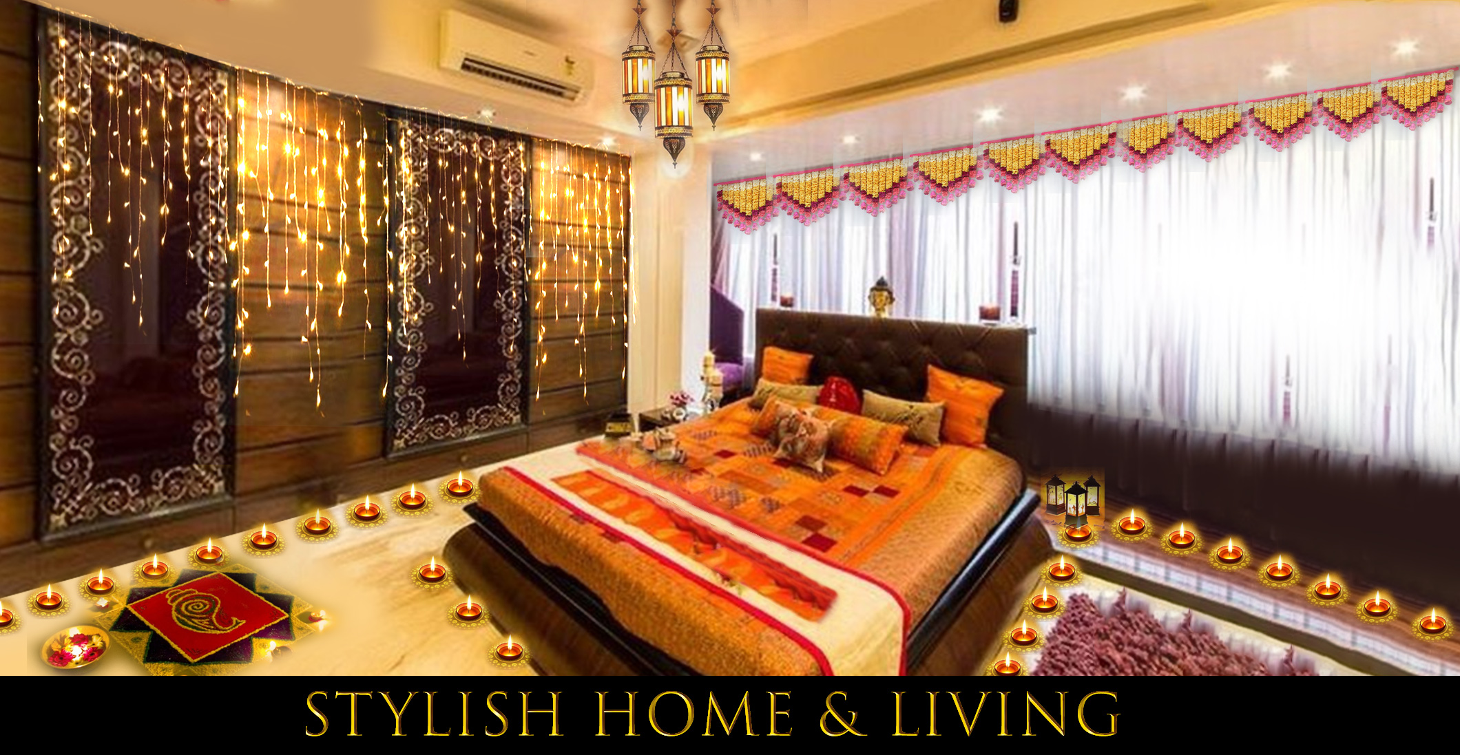 Diwali Room Décor: Bedsheets and Curtains
