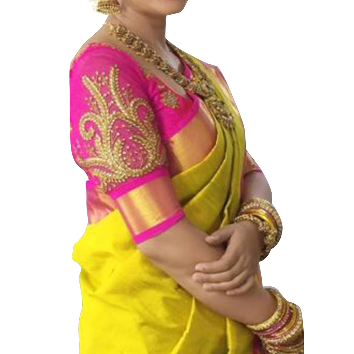 Yellow foil print border embroidery blouse bhagalpuri saree