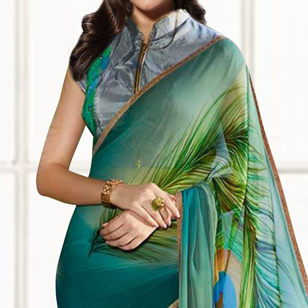 Peacock Green Casual Printed Saree