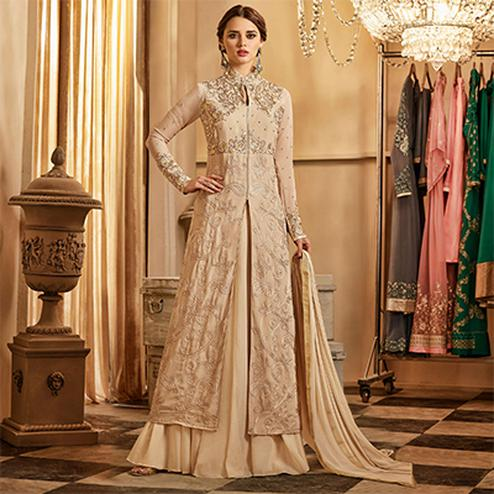 Rich Beige Colored Lehenga Kameez