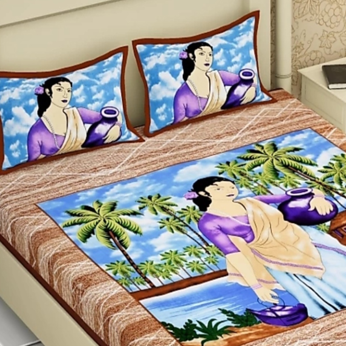 Attractive Brown Colored Printed Cotton Double Bedsheet With 2 Pillow Cover