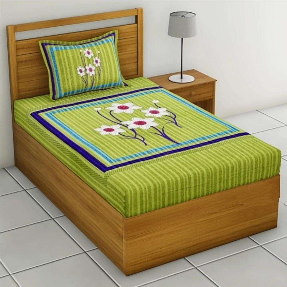 Captivating Green Colored Floral Print Cotton Single Bedsheet With 1 Pillow Cover