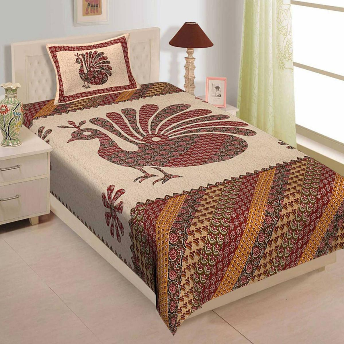 Impressive Orange Colored Peacock Print Cotton Single Bedsheet With 1 Pillow Cover