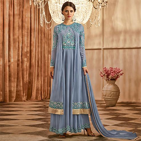 Elegant Blue Colored Anarkali