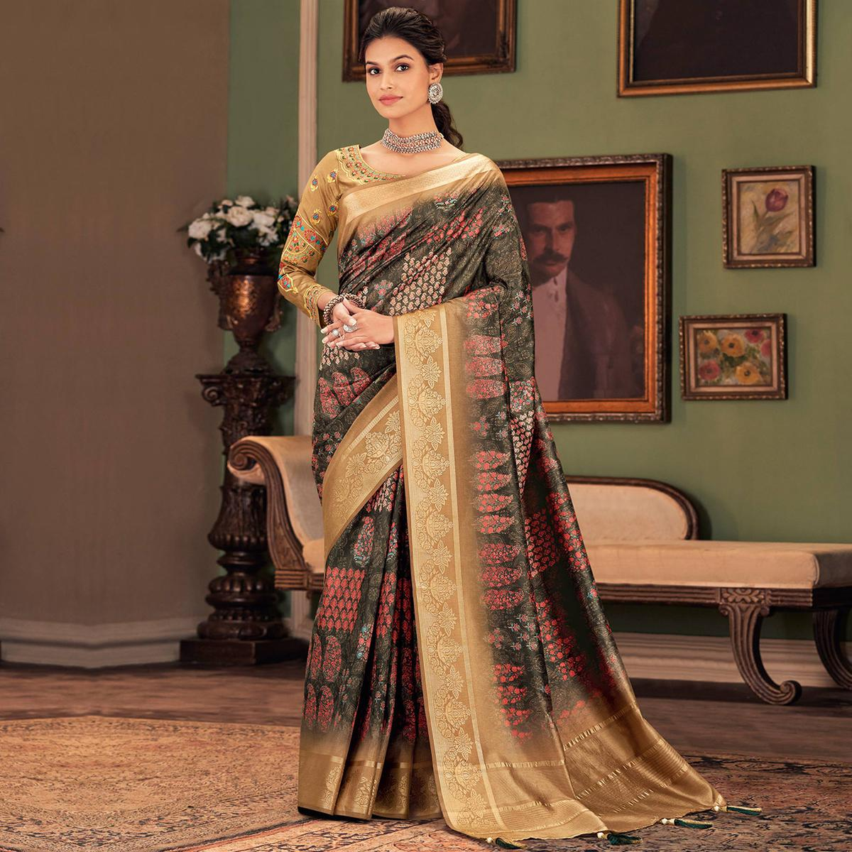 Gorgeous Black-Beige Colored Festive Wear Printed And Woven Border Silk Saree