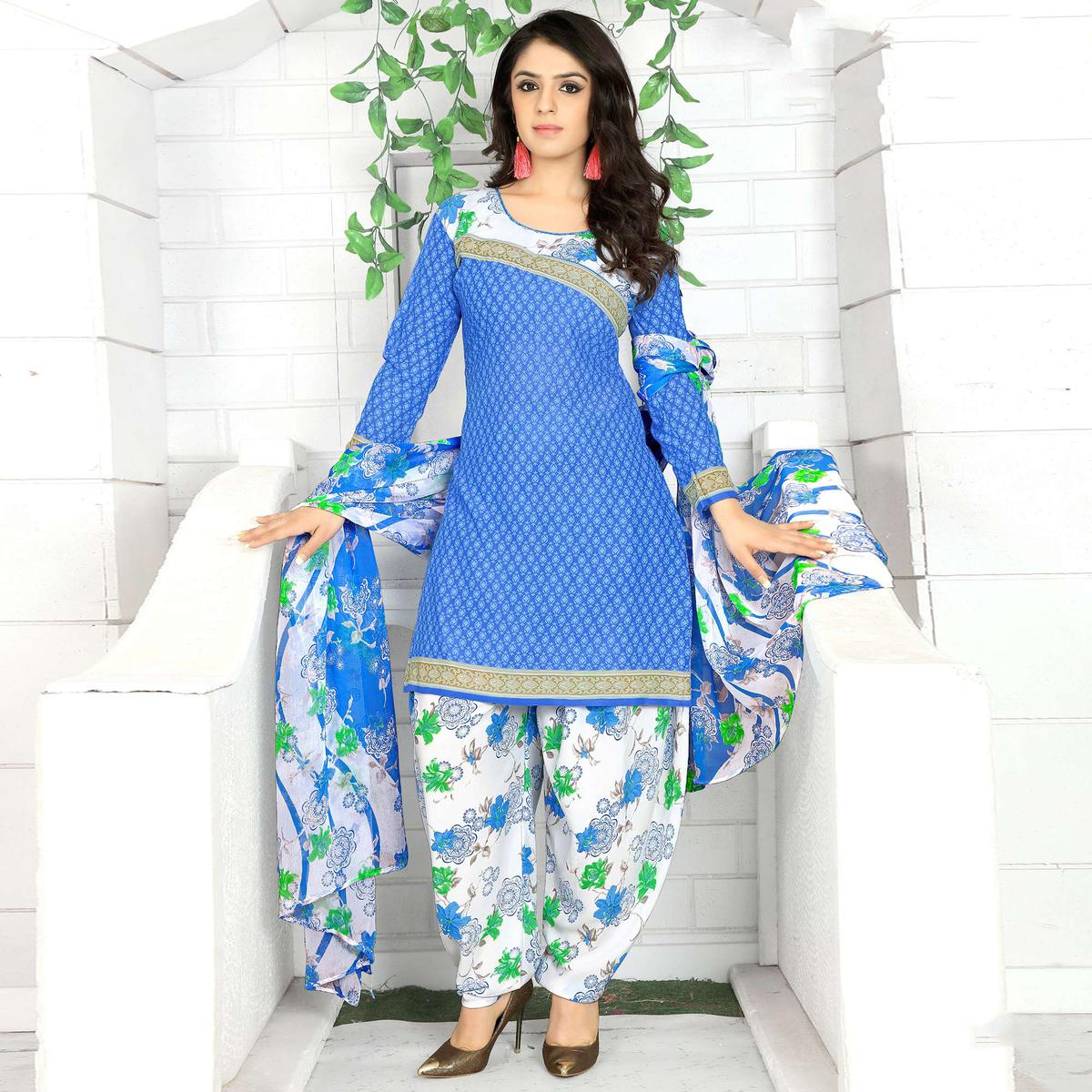 Blooming Blue Colored Casual Wear Printed Crape Semi Patiala Dress Material