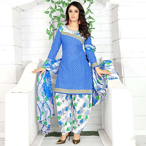 Blooming Blue Colored Casual Wear Printed Crape Semi Patiyala Dress Material