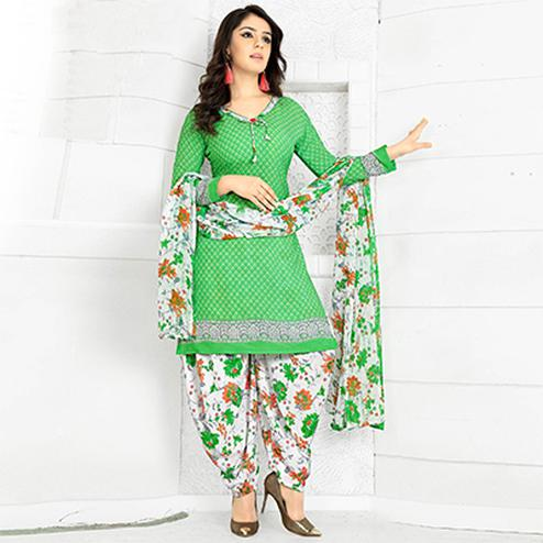 Graceful Green Colored Casual Wear Printed Crape Semi Patiyala Dress Material